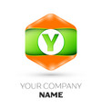 letter y logo in the colorful hexagonal vector image vector image
