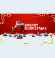 merry christmas modern red postcard with frame vector image