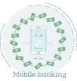 mobile banking concept in line art style vector image