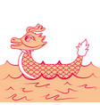 orange dragon boat cartoon chinese in se vector image