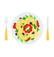 pasta with vegetables in a plate flat icon vector image vector image