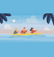 people in kayaking tour in tropical nature vector image