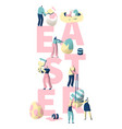 people paint easter egg typography banner vector image