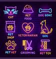 pet neon label set vector image vector image