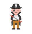 pirate children in halloween costume flat design vector image
