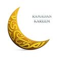Ramadan Kareem greetings shaped into crescent moon vector image