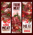 raw fresh farm meat banners for butchery vector image vector image