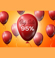 red balloons with an inscription big sale ninety vector image vector image