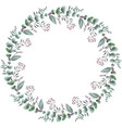 round floral frame with leaves vector image