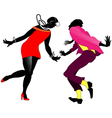 Silhouettes of dancing couples Charleston vector image