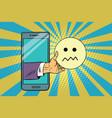 skepticism emoji emoticons in smartphone vector image vector image