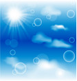 sky with clouds and radiating sun background vector image vector image