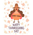thanksgiving with orange turkey bird in brow vector image