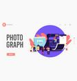 tiny photographers at huge photo camera landing vector image vector image