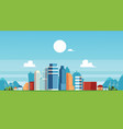 urban landscape with skyscrapers and suburb vector image vector image