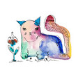 watercolor hand drawing of cat vector image