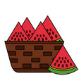 wicker basket with fresh watermelon vector image vector image