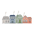 winter houses with a christmas tree vector image vector image