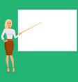 woman pointing at the presentation display board vector image vector image