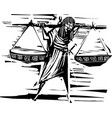 woodcut justice carrying scales vector image vector image