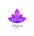Yoga zen pose logo with lotus flower silhouette vector image