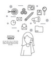 monochrome background of silhouette faceless woman vector image