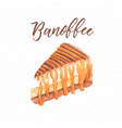 banoffee cake hand draw sketch watercolor vector image vector image