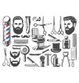 barbershop haircut and shave equipment icons vector image