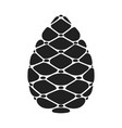 black silhouette pinecone flat cartoon icon vector image