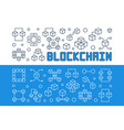 blockchain technology outline banners set vector image vector image
