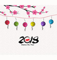 blossom chinese new year lantern and background vector image vector image