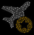bright mesh network airplane rating with flash vector image vector image