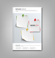 Brochures book or flyer with note papers and pins vector image vector image