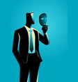 businessman holding a mask in front of his face vector image