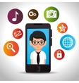 businessman mobile application social media vector image