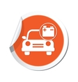 car with accumulator icon orange label vector image vector image