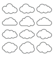 cloud shapes collection set of thin line vector image