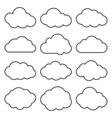 cloud shapes collection set thin line cloud vector image