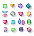 Colored gems jewelry icons vector image vector image