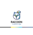 Creative Line logo with gradient funny raccoon vector image