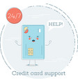 credit card support concept in line art style vector image