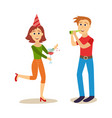 flat girl and boy at friends party vector image vector image