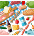 fresh organic food and drinks vector image vector image