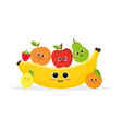 funny fruits and banana vector image vector image