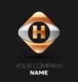 golden letter h logo in the golden-silver square vector image