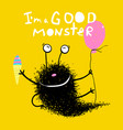 good monster with balloons and ice cream vector image