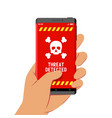 hand holding smartphone with malware threat vector image vector image
