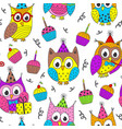 happy birthday seamless pattern with funny owls vector image vector image
