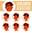 indian boy avatar set kid high school vector image vector image