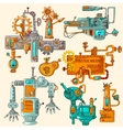 Industrial Machines Doodles Colored vector image vector image